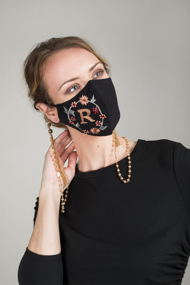 Custom Multi-Color Embroidered Monogram Face Mask