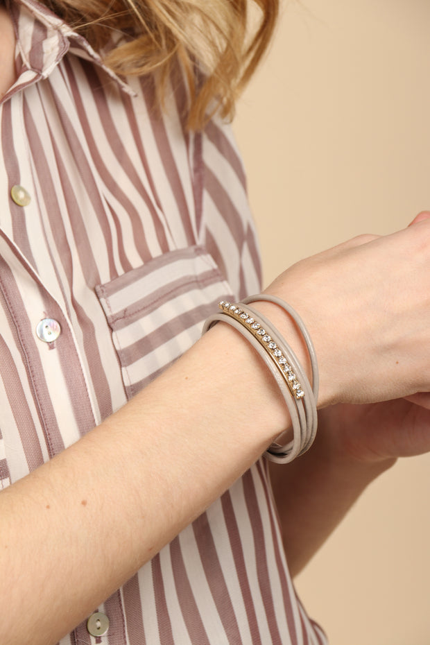 Jazzy Leather and Crystal Bracelet
