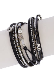 Indulgent Leather and Crystal Bracelet