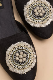 black mule with raffia detail