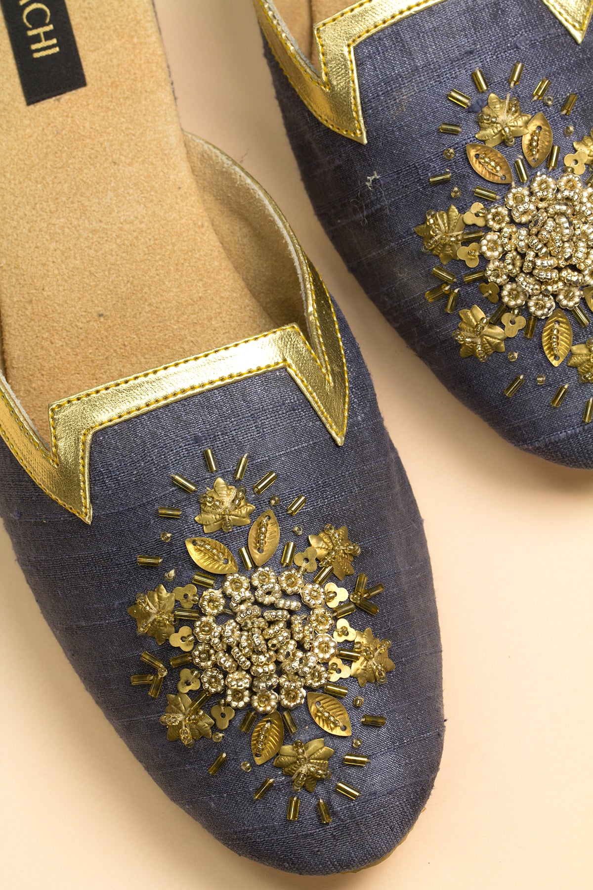Navy Mule with Gold Beaded Embellishment