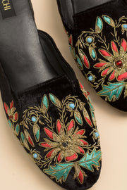 black embroidered mules