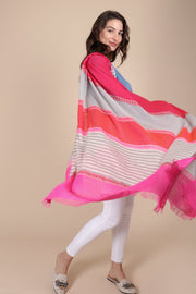 Melody Striped Fuchsia Scarf