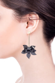 Orchid Resin Drop Statement Earring