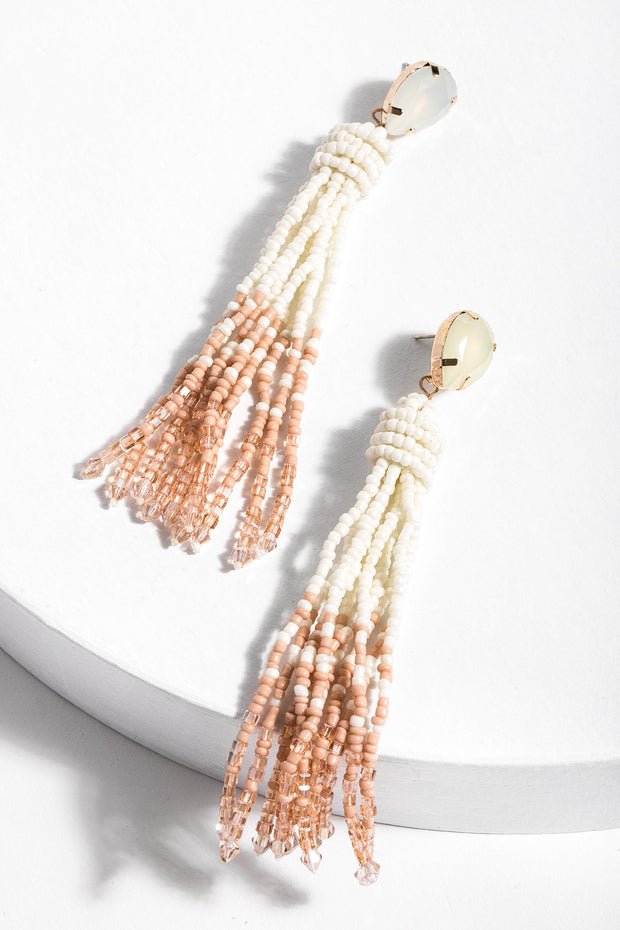 Maldives Tassel Beaded Statement Earring