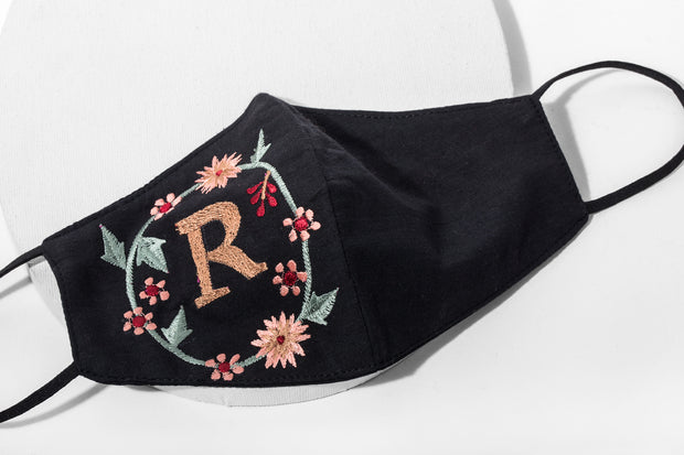 In-Stock Multi-Color Embroidered Monogram Face Mask