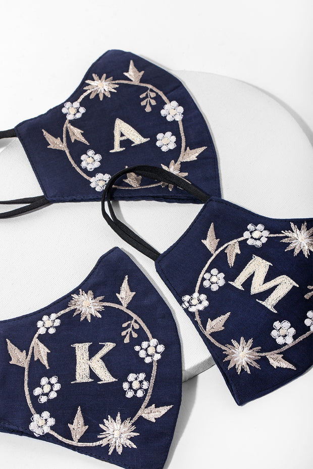 Custom White Embroidered Monogram Face Mask