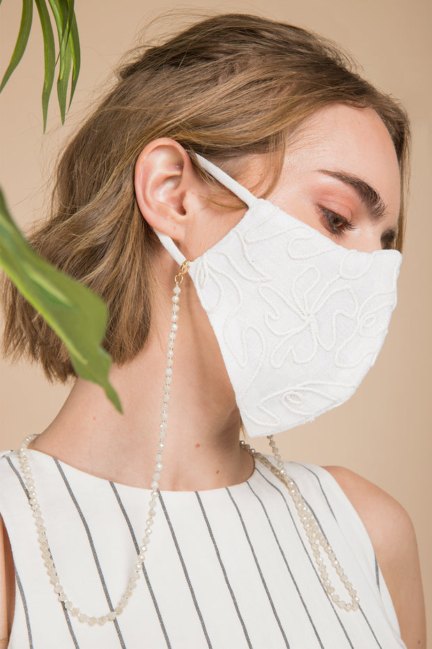 Linen Embroidered Mask 1