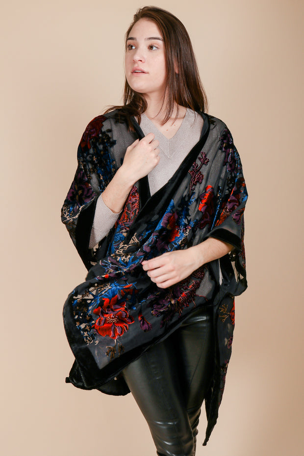 Black Flower Velvet Ruana Wrap