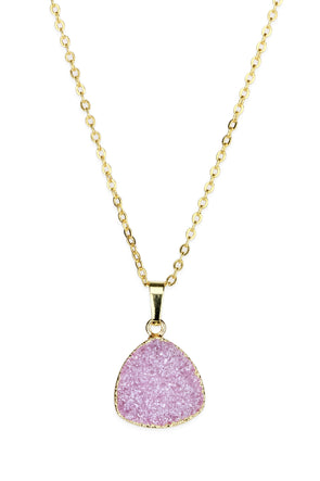 pink druzy pendant necklace gold