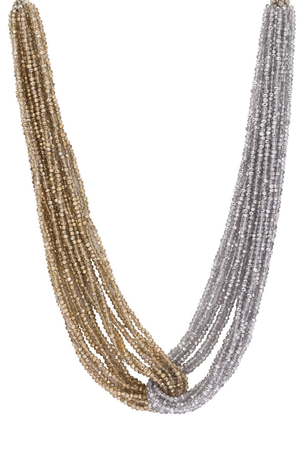Two-Toned Short Beaded Statement Necklace 1