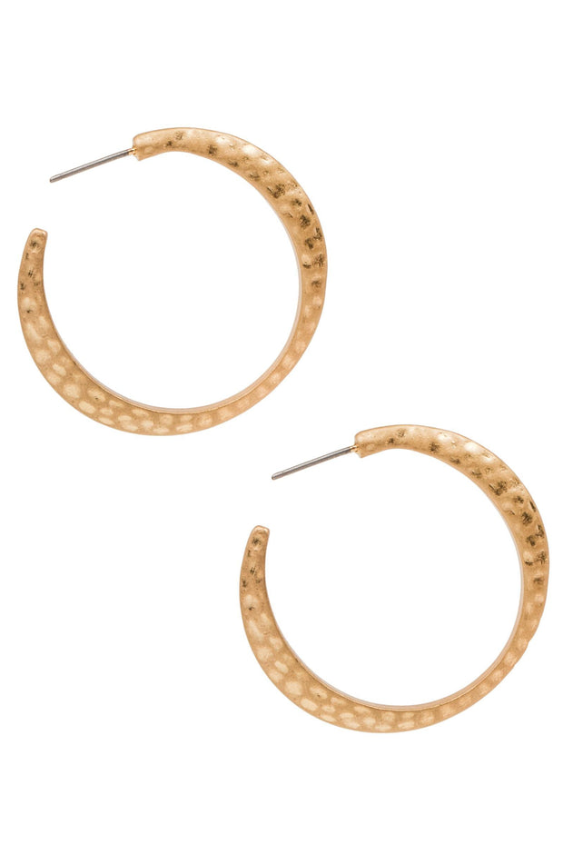 Hammered Hoop Gold Earring
