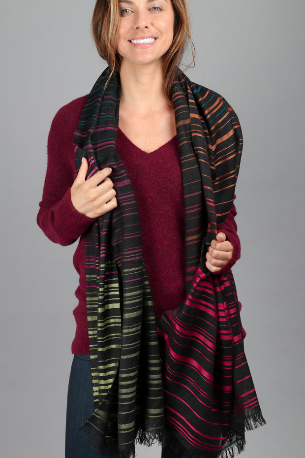 Black Multicolored Striped Scarf