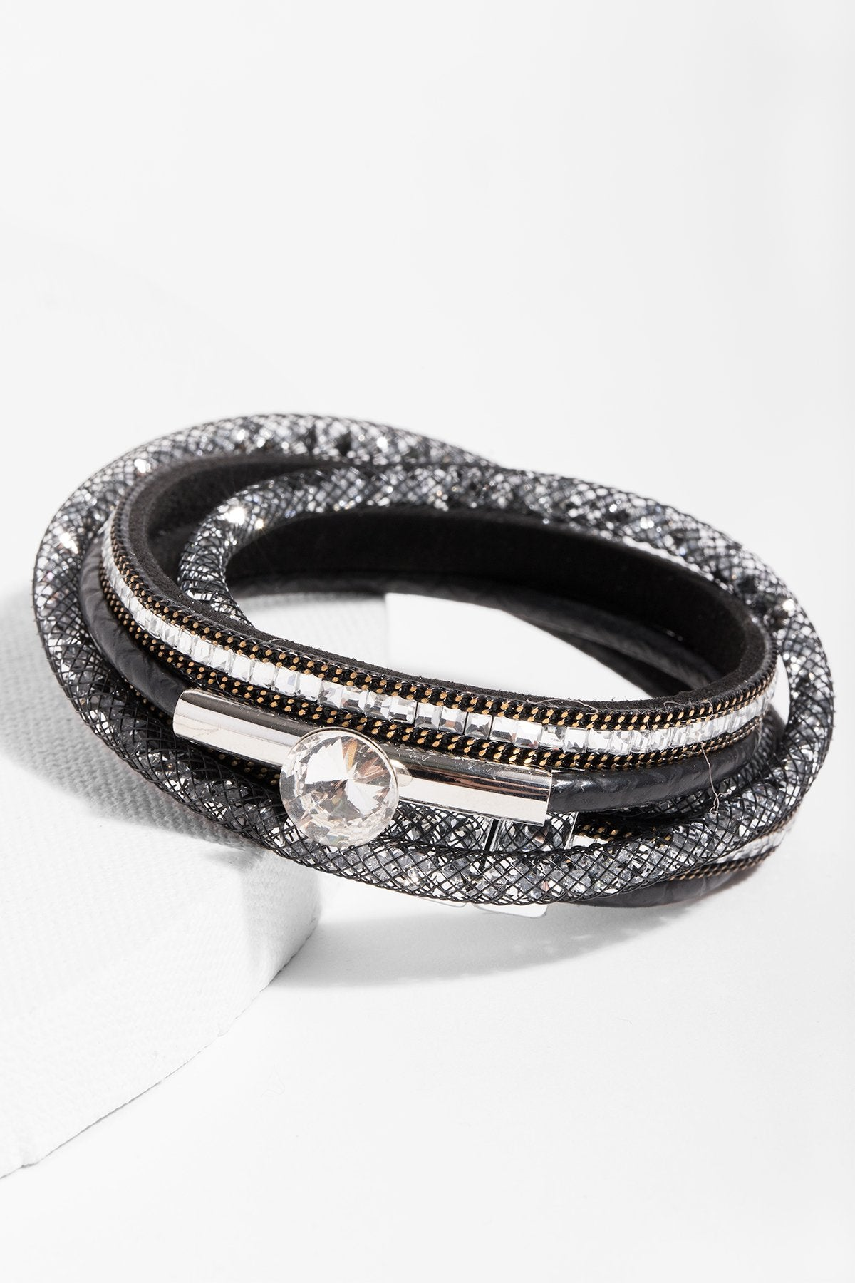 Disco Double Wrap Leather and Crystal Bracelet