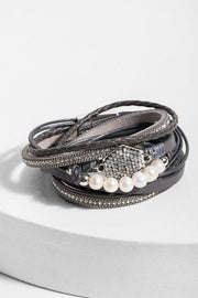 Dream Leather and Crystal Bracelet