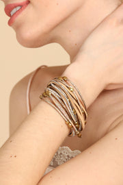 womens fashion accessories, leather and crystal bracelet