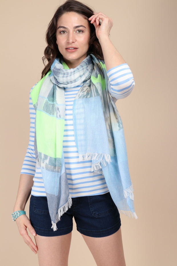 Ebraxas Neon Striped Scarf