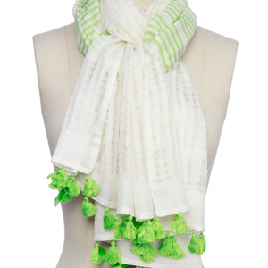 Time For The Beach Striped Tassel Scarf