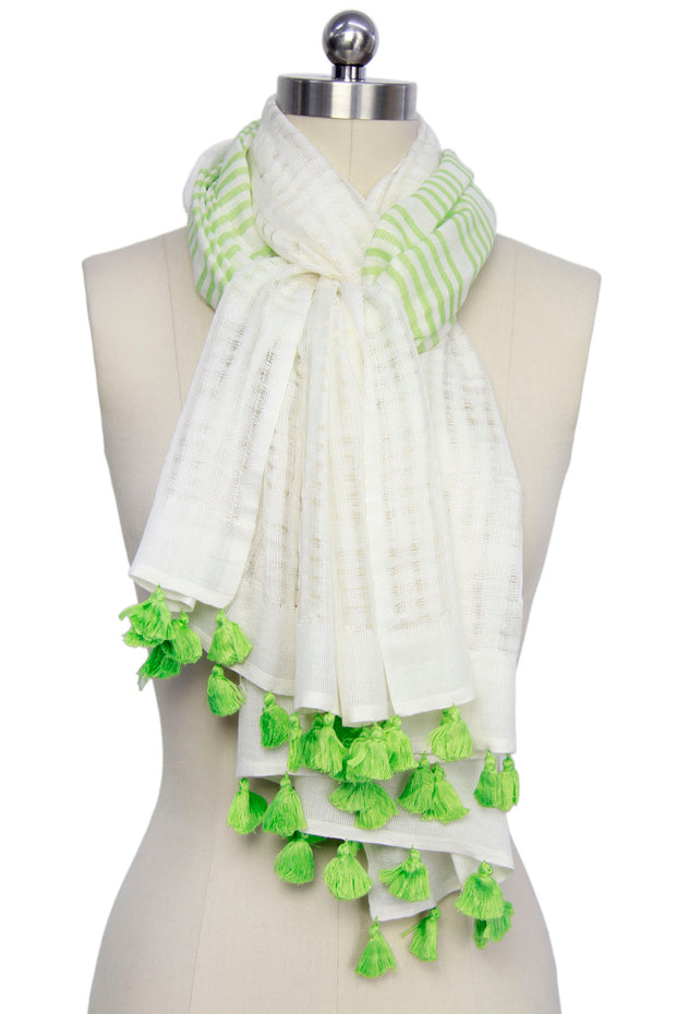 Time For The Beach Striped Tassel Scarf 1