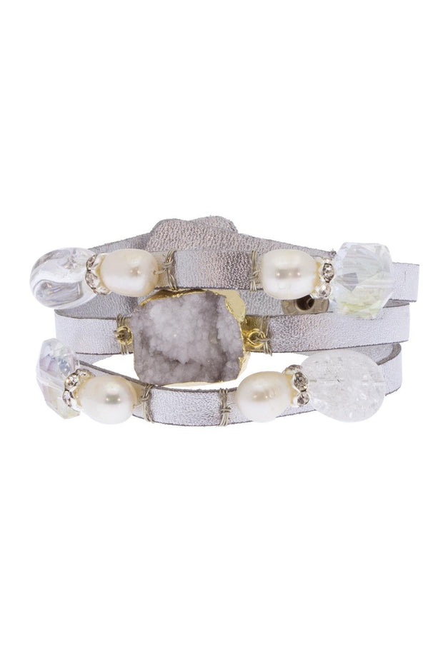 Pangea Pearl Leather and Crystal Bracelet