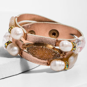 Gaia Pearl Leather and Crystal Bracelet