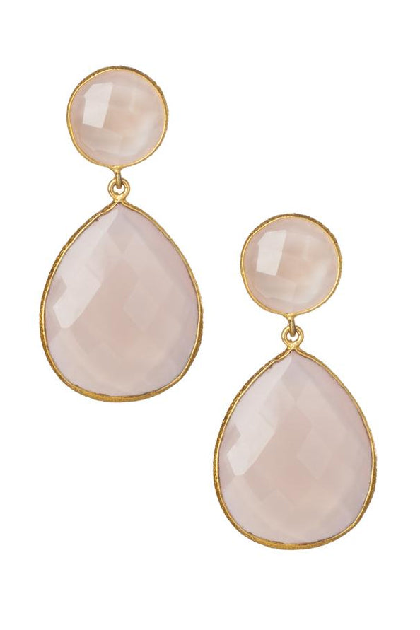 Double Drop Genuine Gemstone Earrings
