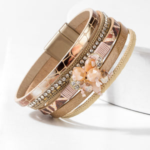 Glamour Leather and Crystal Bracelet