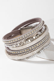 Gloria Leather and Crystal Bracelet