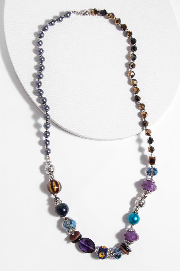 Mixed Media Long Beaded Necklace