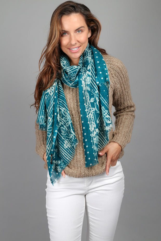 Multi Pattern Bordered Wool Scarf