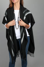 Linear Fringed Ruana Wrap