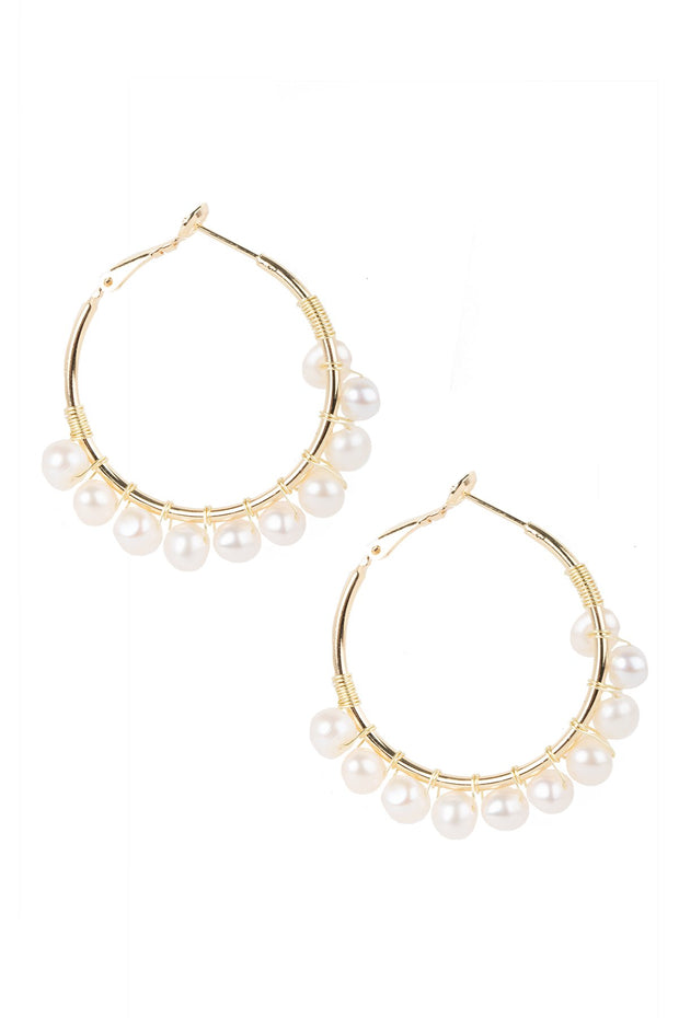 Rushing Water Pearl Hoop Earring
