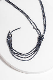 Simple Crystal Knotted Long Layered Necklace