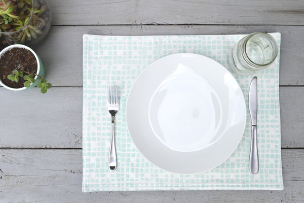 Grid Placemat- Pale Blue