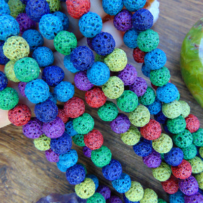 Pack Of 5 Loose Colored Lava Stone Beads for Essential Oil Diffusing Pack