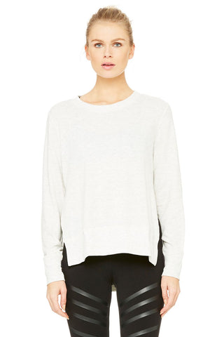 Alo Yoga Glimpse Long Sleeve Top- White Heather