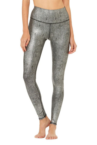 Alo Yoga Airbrush Legging Silver Metallic