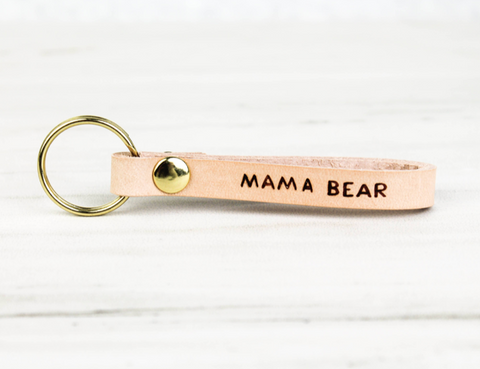 MAMA BEAR Leather Loop Key Chain
