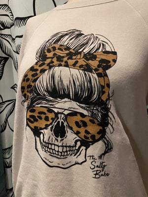 Load image into Gallery viewer, Salty skull crew neck fleece top - The Salty Babe