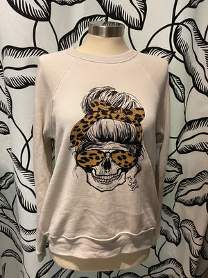 Salty skull crew neck fleece top - The Salty Babe