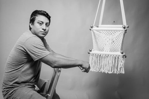 hang a hammock collective artisan and his product (hanging chair) - studio picture