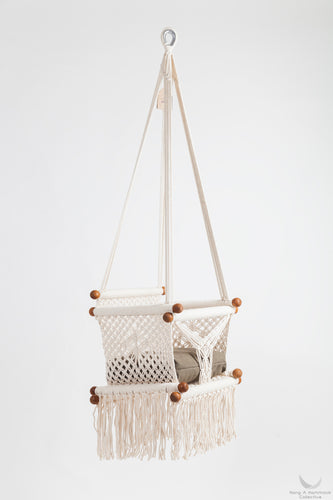 Natural Timber & Cotton Baby Swing Chair. Chemical-Free - MADE ON ORDER