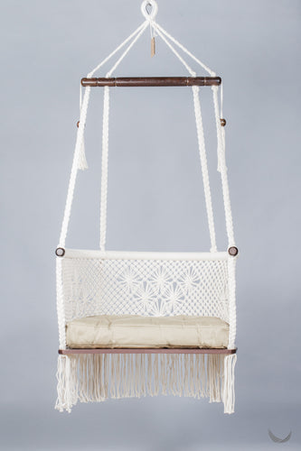 OFFER! Macrame Hanging Chair in Cream with Khaki Olive Cushion. Max weight: 40 kg - Wood could be lighter! FREESHIPPING  🌈SALE 🌈