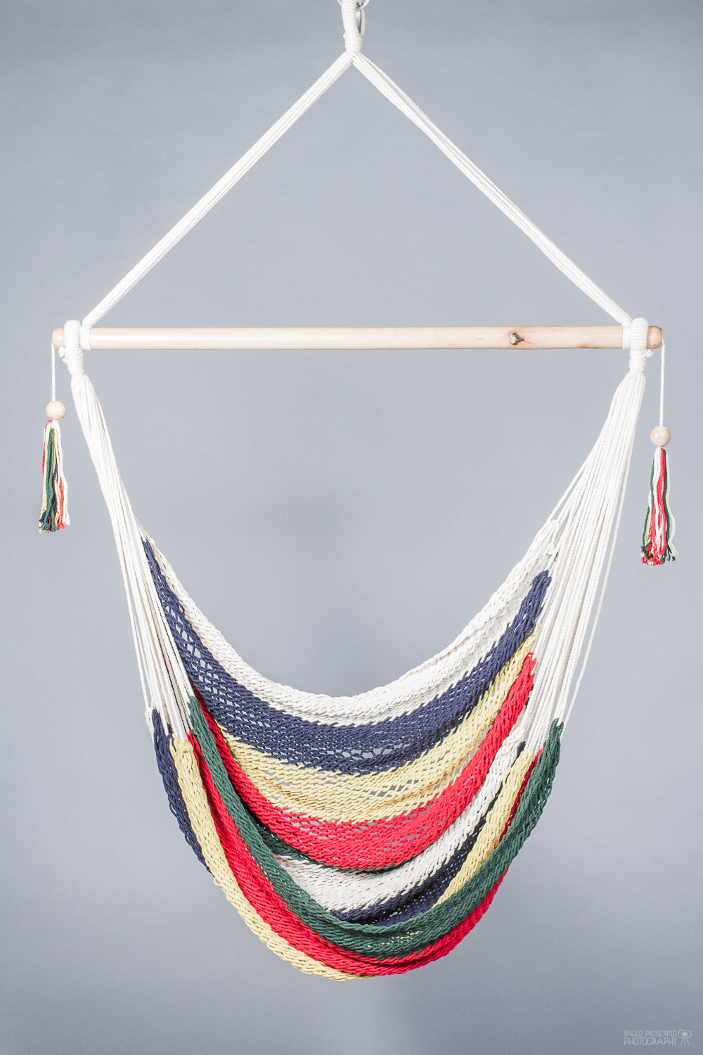 hammock chair of different colors. Grey background