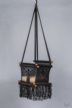baby swing chair in macrame - black color - beige pillow - studio photo