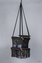 baby swing chair in macrame - black color - blue pillow - studio photo