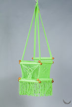 swing chair in macrame - pistachio color -  studio photo