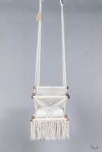 baby swing chair in macrame - ivory color - cream pillow - two hanging points - studio photo