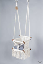 baby swing chair in macrame - ivory color - blue pillow - two hanging points - studio photo