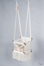 baby swing chair in macrame - ivory color - beige pillow - two hanging points - studio photo